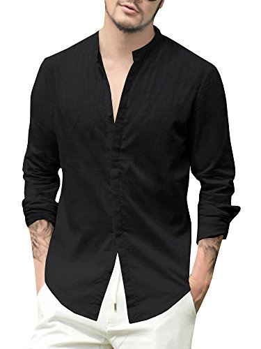 (Enjoybuy Mens Linen Cotton Casual Long Sleeve Shirt Loose Fit Summer Beach Shirts,3X-Large,Black)