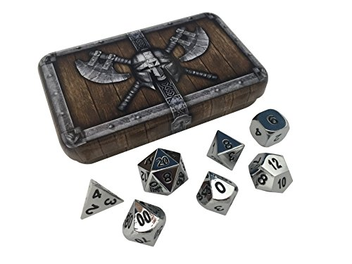 Skull Splitter Dice Chrome Silver Metal Dice - Shiny Chrome Color with Black Numbers | Solid Metal Polyhedral Role Playing Game (RPG) Dice Set (7 Die in Pack) with Awesome Dwarven Chest Dice Case - Heavy Dice