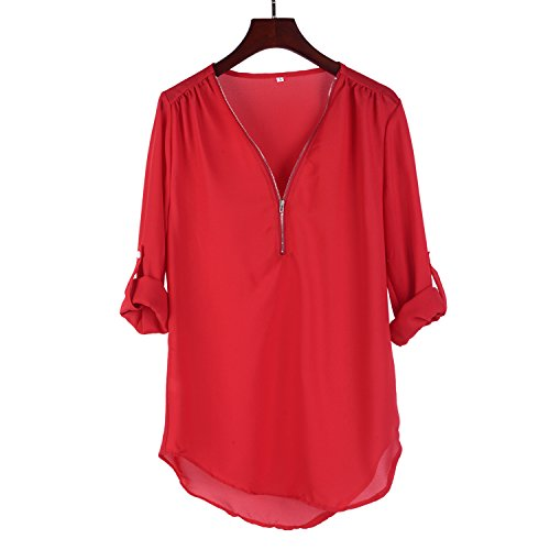 15 V Shirts T Blouse Moussline 5XL Rouge Chemise 4 de Col S Femme Soie ASSKDAN Couleurs 3 Zipp Manche Sq6w5IE