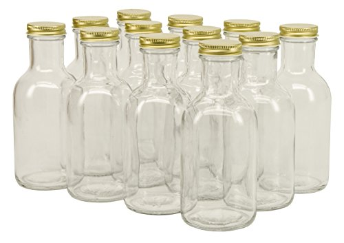 North Mountain Supply 12 Ounce Glass Stout Sauce Bottle 38 CT - With Gold Lids - Case of 12