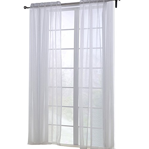 Keynis 2 Piece Solid White Sheer Window Curtains/drape/1 pair (52×84)
