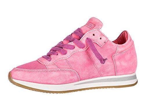 Tropez Chaussures Femme Baskets Daim Sneakers En Rose Philippe Model Zv1SWWR