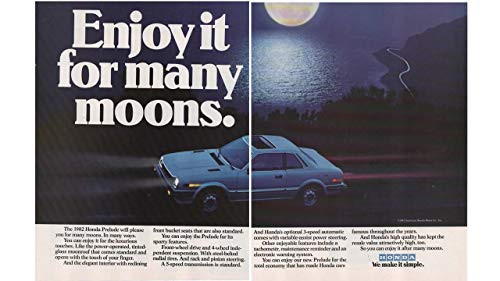 """Magazine Print Ad: 1982 Honda Prelude Sport Coupe, Moonlit Night Highway Scene, Moon Roof,""""Enjoy It For Many Moons"""" 2 pages"""