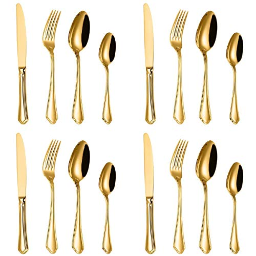 18 10 Stainless Steel Cutlery - Gold Silverware Flatware Set,DCBRAA 16-Piece 18/10 Stainless Steel Cutlery Set for Service 4,Mirror Polished,Dishwasher Safe,Nice Gift Box Package