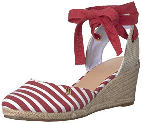 (Tommy Hilfiger Women's Nowell Espadrille Wedge Sandal, red, 9.5 M US)