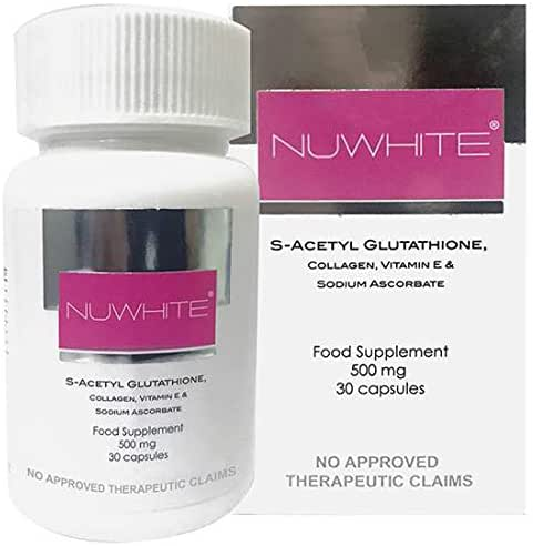 NuWhite Nu White S-Acetyl Glutathione New Improved Formula Skin Whitening 30 Capsules