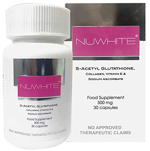 NuWhite Nu White S-Acetyl Glutathione New Improved Formula Skin Whitening 30 Capsules by Nuwhite