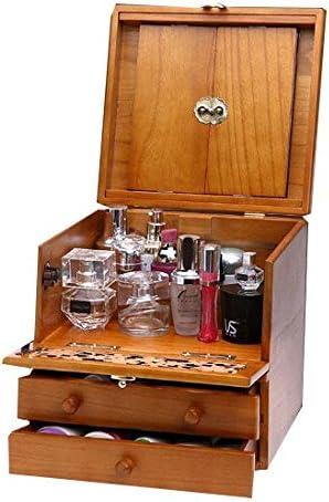 Estuche de maquillaje, estuche de cosméticos retro tallado de madera de 3 capas con espejo, regalo de boda de alta gama y regalo de inauguración, caja de almacenamiento de joyas de belleza: