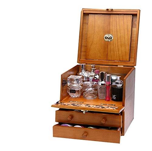 Kth 化粧箱、3層レトロ木製彫刻化粧ケース付きミラー、ハイエンドのウェディングギフト、新築祝いのギフト、美容ネイルジュエリー収納ボックス B07Q6Y749R