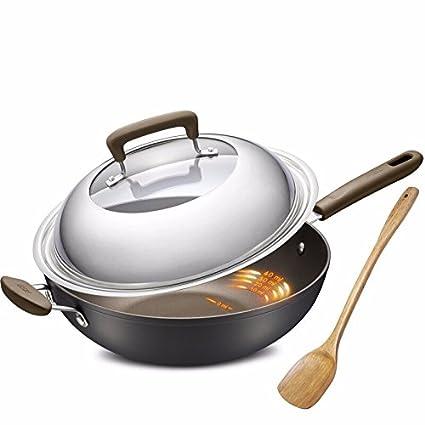 32cm sin humos de cocina antiadherente olla y Sarten plana nacional,Black