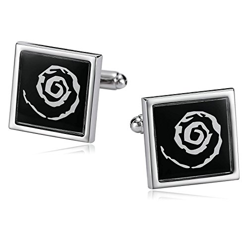 Epinki Mens Stainless Steel Swirl Design Sqaure Black for sale  Delivered anywhere in USA