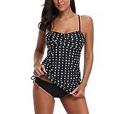 TADAMI Women Floral Tankini Tummy Control Swimwear Tank Top Retro Printed Swimsuit with Boyshorts Two Piece Bathing Suit Black
