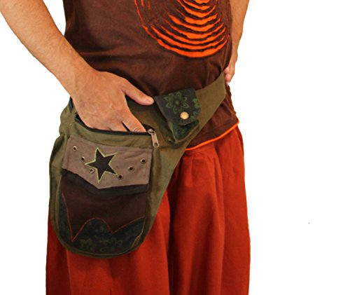 [manakamana Utility belt , waist bag, Green, cotton] (Suede Utility Bag)
