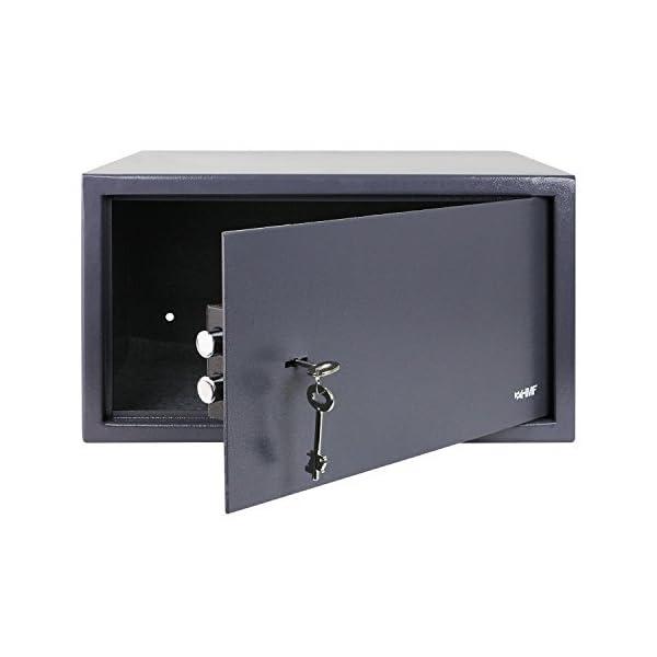 HMF 49204-11 Tresor passend für Laptop und Ordner, Möbeltresor Doppelbartschloss, 45,0 x 25,0 x 36,5 cm , anthrazit