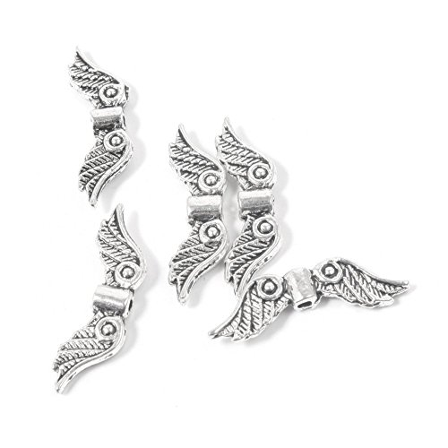 Angels Beads - Zuoyou 50 pcs 20mm Angel Wing Spacer Metal Beads DIY for Bracelets Necklace Silver