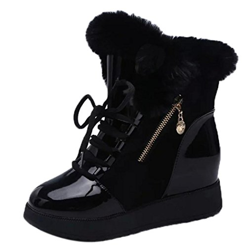 Women Fashion Ladies Soft Round Toe Flat Ankle Martin Shoes- Female Suede Leather Fleece Lace-Up Boots-MOONHOUSE (7.5, Black) (Fleece Leather Suede)