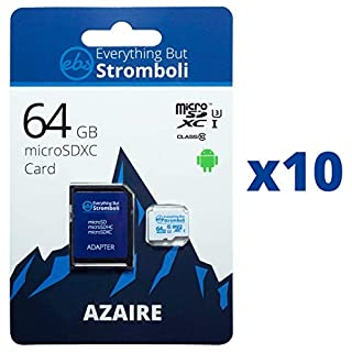 Everything But Stromboli 64GB MicroSD Azaire Memory Card & Adapter (10 Pack) Works with Action Cams & Drones, GoPro Hero Cameras, DJI Mavic, Phantom, Spark, Osmo, Class 10, U1, UHS-1, 4K Full HD SDXC