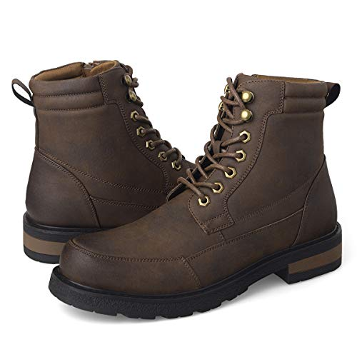 GM GOLAIMAN Men's Combat Boots Winter Work-Lace Up Zip Apron Toe Ankle High Boot for Hiking Motorcycle Riding Military Tactical Brown ()