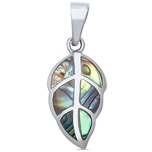 Sterling Silver Natural Stone Cute Leaf Pendant (Three colors Available)