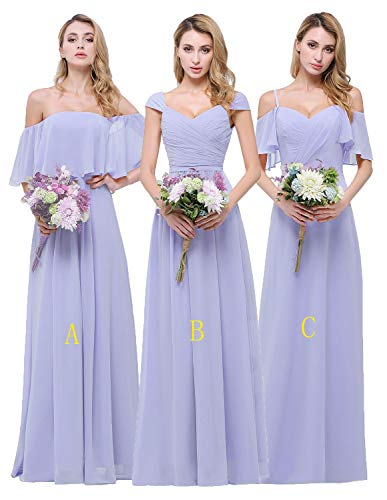 CLOTHKNOW Women Bridesmaid Dresses Long Lilac Spaghetti Strap Bridal Party Gowns