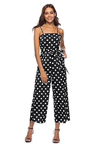 FairyMei Women's Striped Waist Belted Back Wide Leg Casual Loose Polka Dot Jumpsuit Rompers with Floral Print Pleated mid Dress(XXL, Black)