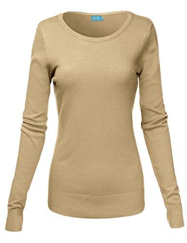 Basic Crew Neck Long Sleeve Soft Sweater Knit Tops,012-Khaki,US M