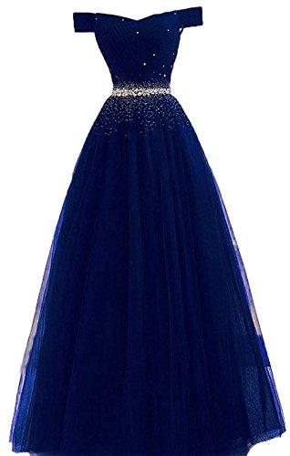 Bessdress Tulle Au Large Des Robes De Soirée Épaule Sequins Robe De Demoiselle D'honneur Bd481 Bleu Royal