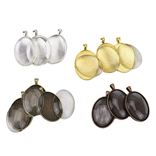 - JETEHO 12Set 30X40mm Large Oval Pendant Trays with Glass - 4 Color - Pendant Blanks Cameo Bezel Settings Photo Jewelry for DIY Custom Jewelry Making(Gold/Shiny Silver/Bronze/Red Copper)
