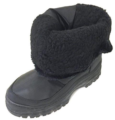 Wals Femmes Bottes Dhiver Temps Froid Chaud Fourrure Doublée Côté De La Mode Fermeture À Glissière Boucle Neige Chaussures Noir Noir