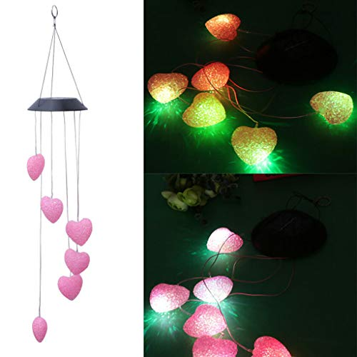 Mikilon Wind Chimes Outdoor,Solar Color Changing LED Light Lamp Six Hearts Mobile Romantic Wind-Bell for Home, Party, Festival Decor, Night Patio Yard Garden Decoration (Black Top) ()