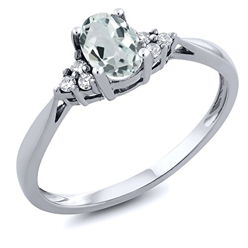 14k Gold Birthstone Ring - 14K White Gold Sky Blue Aquamarine and Diamond Women's Engagement Gemstone Birthstone Ring 0.49 Cttw, Available in size (5,6,7,8,9)