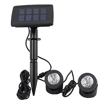 eDealMax Negro energía solar 12 LED del paisaje del proyector de proyección de luz w 2 lámparas sumergibles para jardín piscina al aire libre de la ...