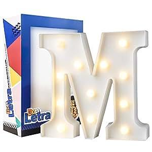 DON LETRA Letras Luminosas Decorativas con Luces LED, Letras del Alfabeto A-Z, Altura de 22cm, Color Blanco - Letra M: Amazon.es: Hogar