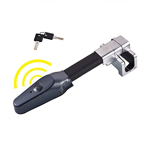 Universal Auto Antitheft Locking Car Steering Wheel Lock with Keys Security Alarm T-Lock Black(Batteries not Included)