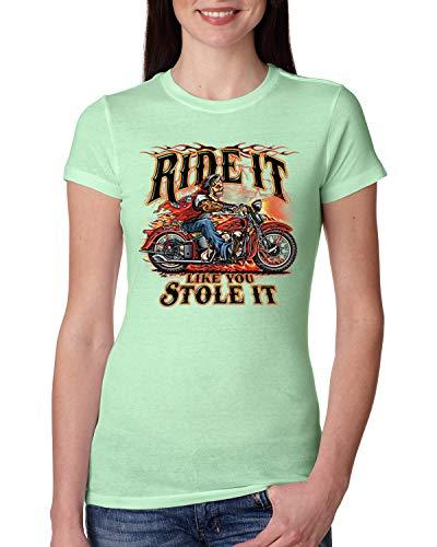 Ride It Like You Stole It | Motorcycle Devil | Womens Americana/American Pride Junior Fit Tee, Mint, Medium ()
