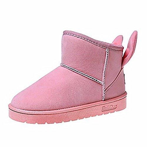 ZHUDJ Chaussures Pour Femmes Bottes D'Hiver Bottes Neige Talon Plat Bout Rond Pour Une Partie & Soir Rouge Rose Gris Noir Pink VV1nT8k5E