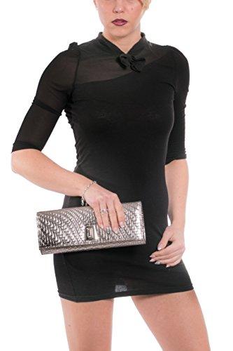 Gadzo® Clutch lang Umschlag Abendtasche elegant Schlangen Look CLUGe05 Champange 7dAQk