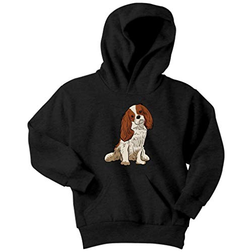 Cavalier King Charles Spaniel Dog Hoodie Sweatshirt for Youth Boys Girls, Gifts for Dog Lover Mom Dad 9166, Black, Youth XL/Kids ()