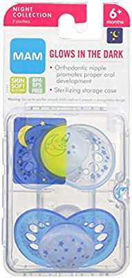MAM Glow In the Dark Pacifiers, Baby Pacifier 6+ Months, Best Pacifier for Breastfed Babies,