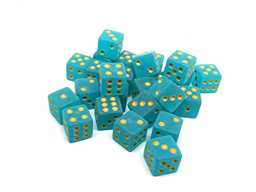- Easy Roller Dice Co. 25 Count D6 Collection - Frosted Ice with Gold Pips - Perfect for Tabletop Wargames and RPGs