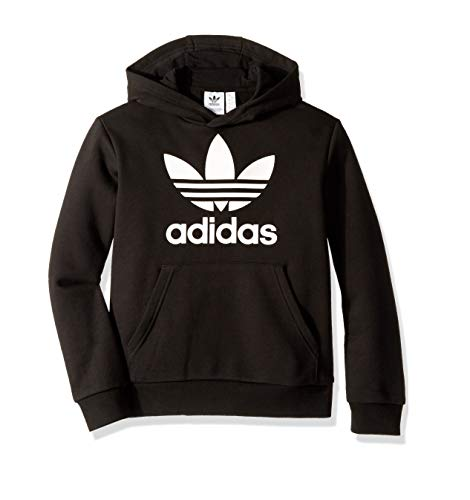 adidas Originals Boys' Big Trefoil Hoodie, Black/White, Medium