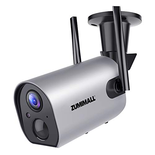 Outdoor Security Camera Wireless WiFi, ZUMIMALL Rechargeable Battery Powered Home Security Camera with Mobile App, Night…