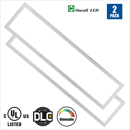 Oncall LED 1 x 4ft 36w LED Troffer Flat Panel Light Ultra Thin Commercial Drop Ceiling Edge-Lit Dimmable Lamp Fixture 4500lm DLC Premium 4.2 Qualified-Pack of 2 (4000K, 1X4) (1 Drop Ceiling Light Fixture)