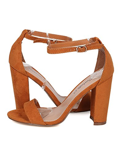 Heel Heel GG67 Strap Sandal Chunky by Versatile Ankle Dressy Breckelles Women Formal Tan Wedding HqEPqvn