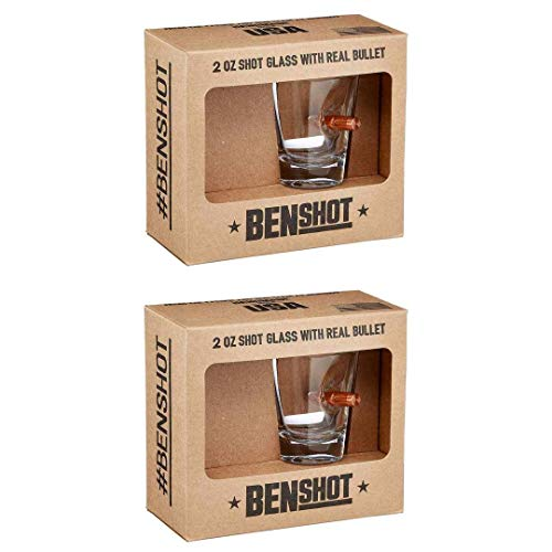 ([set of 2] The Original BenShot Shot Glass with Real 0.308 Bullet Bulletproof Made in the USA)