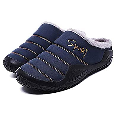 Asifn Womens Mens Slippers House Winter Slip on Shoes Warm Fur Lined Snow Plush Waterproof Indoor/Outdoor Blue Size: 9.5-10