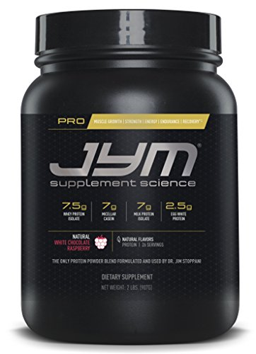 JYM Supplement Science, PRO JYM, An optimal Blend of Whey, Casein, and Egg Proteins, Natural White Chocolate Raspberry, 2lb Protein