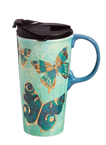 Cypress Home Metallic Butterfly Ceramic Travel Coffee Mug, 17 ounces