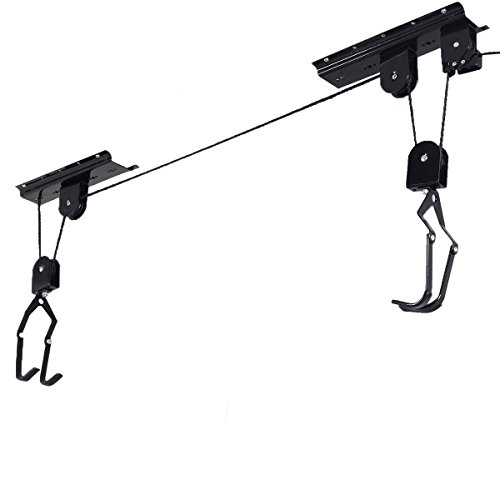 Tangkula Bike Bicycle Lift Ceiling Mounted Hoist Storage Garage Hanger Pulley Rack (Bike System Hoist Pulley)