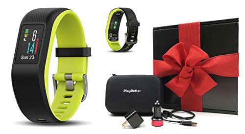 Garmin vivosport (Large, Limelight) Gift Box Bundle | Includes PlayBetter USB Car & Wall Charging Adapters, Protective Hard Case | On-Wrist HR, Color Display, GPS Fitness Band | Black Gift Box by PlayBetter